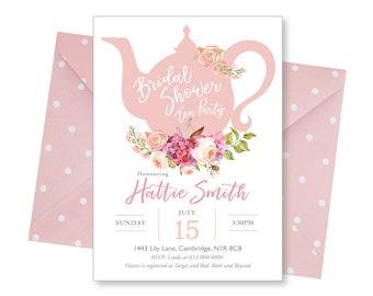 Tea Party Bridal Shower Invitations, Baby Shower Invite, Invite Printable, Floral, Watercolor, Bride Luncheon, Summer Bridal Shower