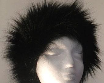 Black Faux Fox Fur Hat lined in Polartec fleece