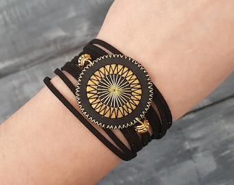 Leather wrap bracelet. Black wrap bracelet. Bohemian wrap bracelet. Boho bracelet. Leather cuff bracelet. Mandala bracelet. Layered bracelet