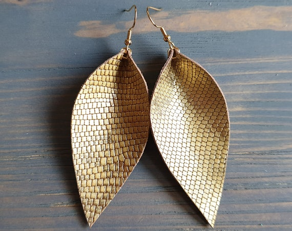 Golden Leather Leaf Earrings, Large Leaf Earrings, Leather Earrings, Western Earrings, Snakeskin Earrings, Gold Leaf Earrings, Boho Earrings