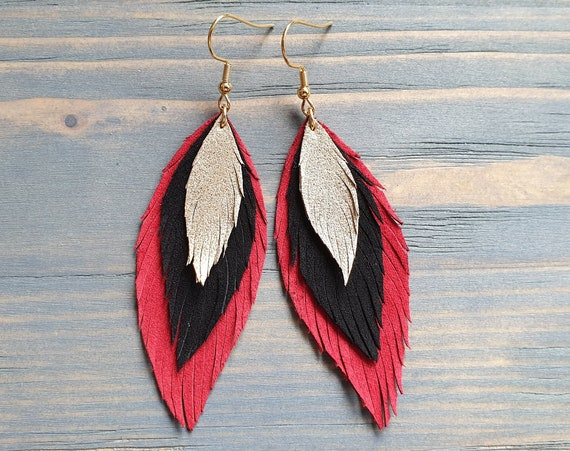 Red Black Gold Leather Earrings, Layered Leather Earrings, Statement Earrings, Boho Jewelry, Bohemian Earrings, Leather Feather Earrings