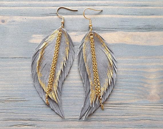 Statement Earrings, Boho Earrings, Feather Earrings, Leather Earrings, Leather feather Earrings, Boho Jewelry, Grey Leather Earrings