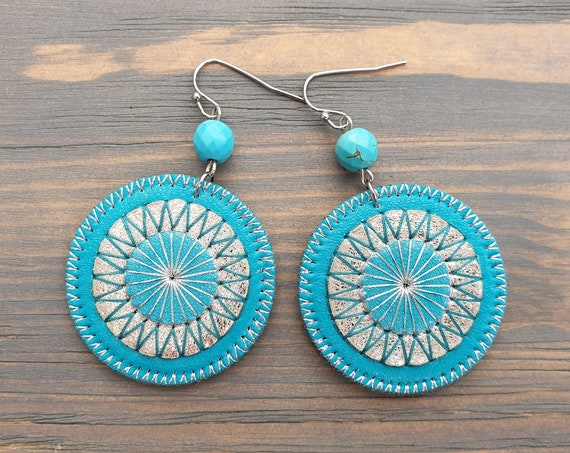 Leather Earrings, Turquoise Earrings, Leather Jewelry, Statement Earrings, Boho Earrings, Boho Jewelry, Bohemian Earrings, Statement Jewelry