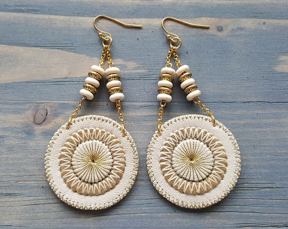 Beige Leather Earrings. Bohemian Earrings. Circle Boho Earrings. Dangle Earrings. Large Earrings. Statement Earrings. Bohemian Jewelry.