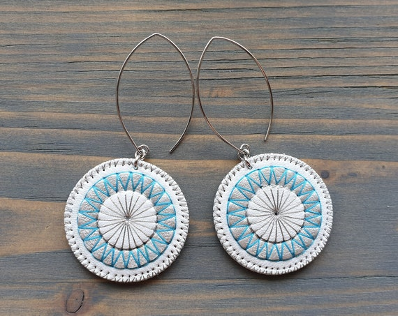 White Leather Earrings. Boho Earrings. Dangle Circle Earrings.  Embroidered Mandala Earrings. Hippie Earrings. Bohemian Earrings.