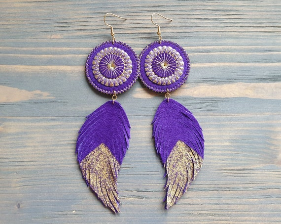 Purple Earrings, Leather Earrings, Statement Earrings, Leather Feather Earrings, Large Boho Earrings, Boho Jewelry, Bohemian Earrings