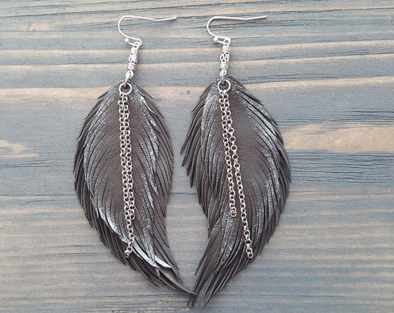 Boho Chic Earrings Grey Leather Feather Earrings Boho Jewelry Bohemian Silver Earrings Bohemian Jewelry Handmade Silver Drop Earrings