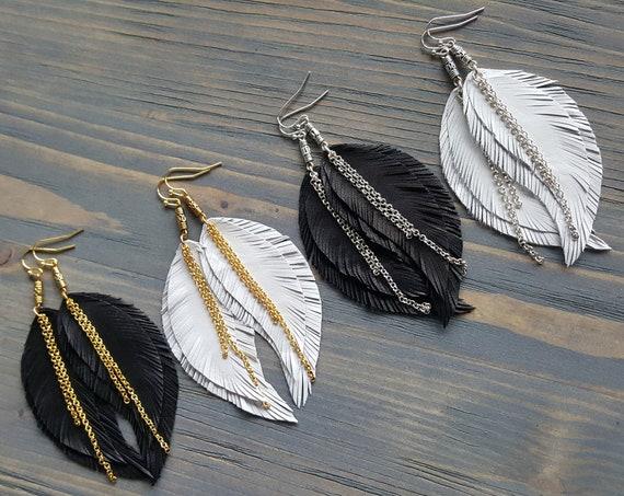 Feather Earrings, Leather Earrings, Boho Earrings, Leather Feather Earrings, Bohemian Earrings, Boho Jewelry, Bohemian Jewelry.