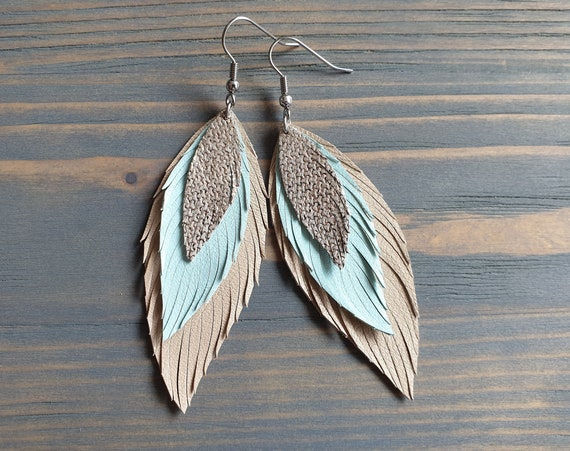Layered Leather Feather Earrings, Beige Blue Silver Leather Earrings, Statement Earrings, Dangle Earrings, Bohemian Earrings, Boho Jewelry
