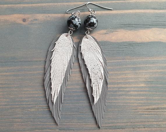 Grey Leather Earrings, Leather Feather Earrings. Statement Earrings, Long Drop Earrings, Bohemian Earrings, Lightweight Layered Earrings