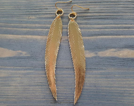 Gold Leather Earrings. Metallic Leather Earrings. Genuine Leather. Long Feather Earrings. Leather Feather. Shiny Earrings. Gold Feathers.