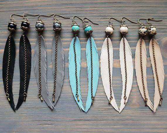 Gemstone Earrings, Leather Earrings, Boho Earrings, Long Earrings, Bohemian Earrings, Boho Jewelry, Long Thin Feather Earrings