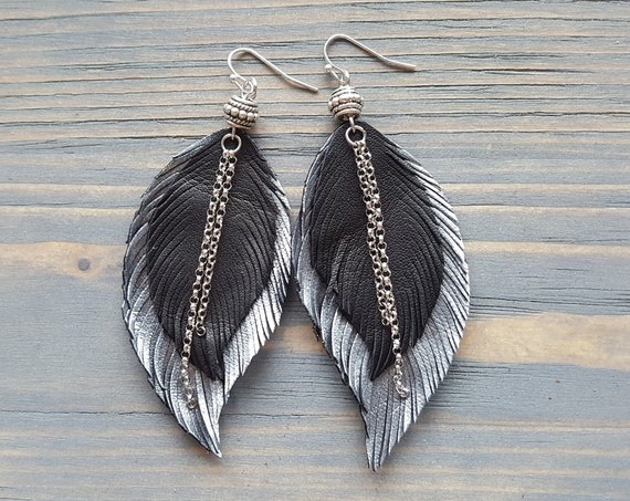 Feather earrings. Leather feather earrings. Leather earrings. Boho earrings. Bohemian earrings. Black silver earrings. Large earrings.
