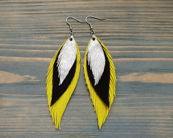 Triple Layer Leather Earrings, Leather Feather Earrings, Boho Earrings, Statement Earrings, Dangle Earrings, Handmade Earrings, Boho Jewelry