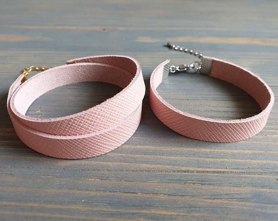 Blush Leather Bracelet, Leather Cuff Bracelet, Leather Wrap Bracelet, Bangle Bracelet, Leather Wristband, Pink Wrist Cuff, Pink Bracelet