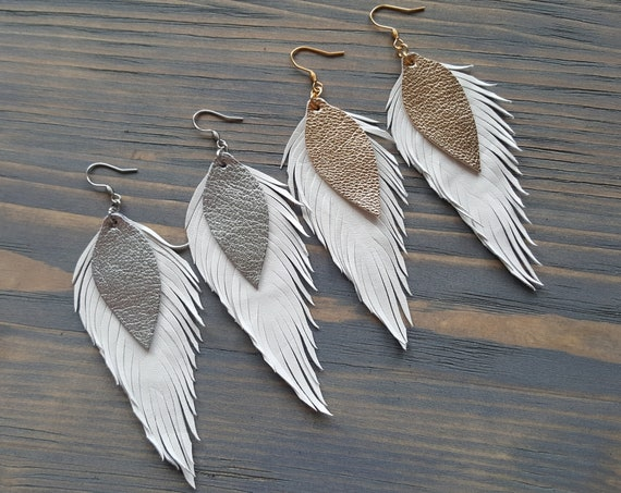 Large White Leather Earrings. White Feather Earrings. Lightweight Earrings. Bohemian Earrings. Statement Earrings. Boho Earrings. Boho Chic.