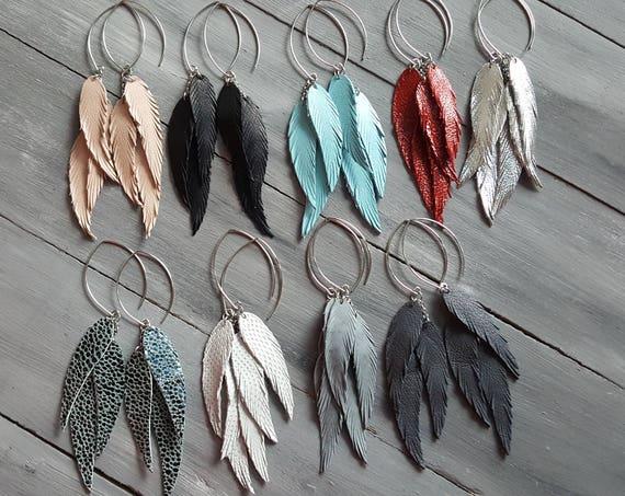 Long Leather Feather Earrings. Triple Feather Earrings. Bohemian Dangle Earrings. Large Hoop Earrings. Silver Hoop Earrings. Italian Leather