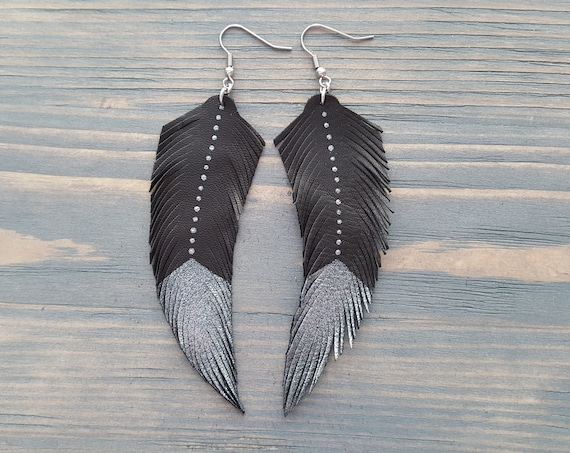 Leather feather earrings. Black feather earrings. Silver and black. Feather earrings. Leather earrings. Boho earrings. Bohemian earrings.