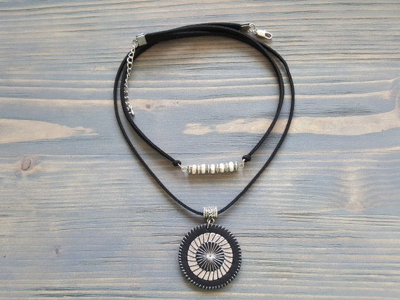 Black Leather Pendant Necklace. Suede Choker Necklace. Silver Bar Necklace. Boho Pendant Necklace. Bohemian Jewelry. Gemstone Bar Necklace.
