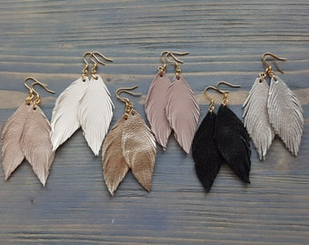1Pair Metallic Pink Leather Feather Earrings,Champagne Glitter Leather Feather Earrings,Double layer leather feather earrings,Handmade.