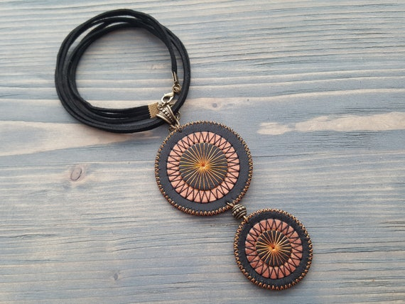 Statement necklace. Black necklace. Leather necklace. Leather choker. Large pendant necklace. Boho choker. Boho necklace. Mandala necklace.