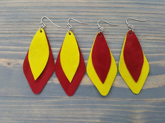 Bright Geometric Suede Earrings. Leather Earrings. Teardrop Leather Earrings. Colorful Dangle Earrings. Geometric Leather Jewelry.