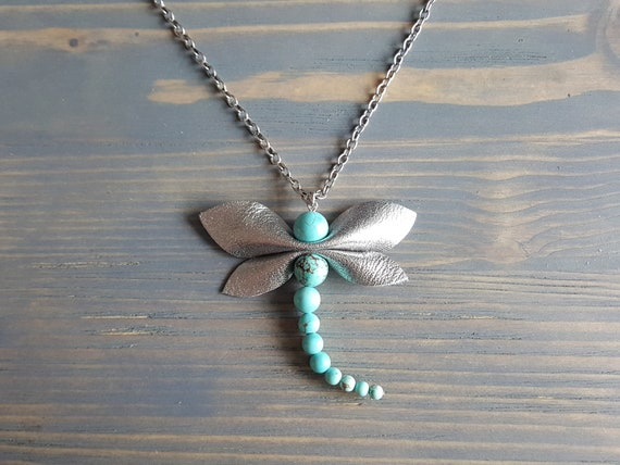 Turquoise Dragonfly Pendant, Silver Dragonfly Necklace, Large Turquoise Pendant Necklace, Gemstone Statement Necklace, Statement Jewelry.
