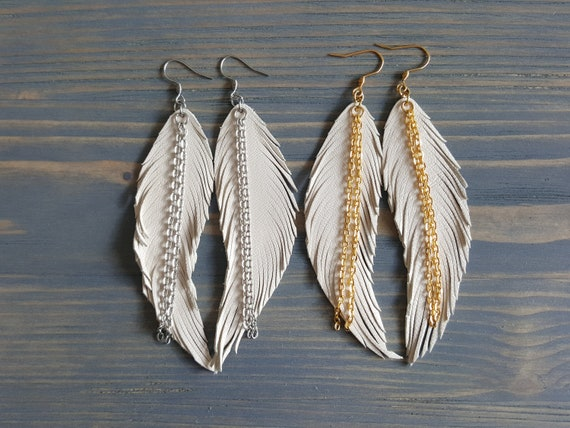 Ivory Cream Earrings, Boho Wedding Earrings, Leather Earrings, Ivory Bridal Earrings, Bohemian Wedding Earrings, Leather Feather Earrings.