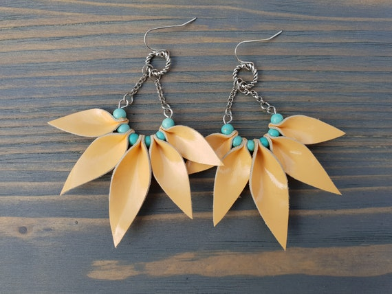 Peach Leather and Turquoise Earrings, Leather Earrings, Fun Earrings, Turquoise Beads, Dangle Earrings, Boho Earrings, Boho Jewelry Handmade