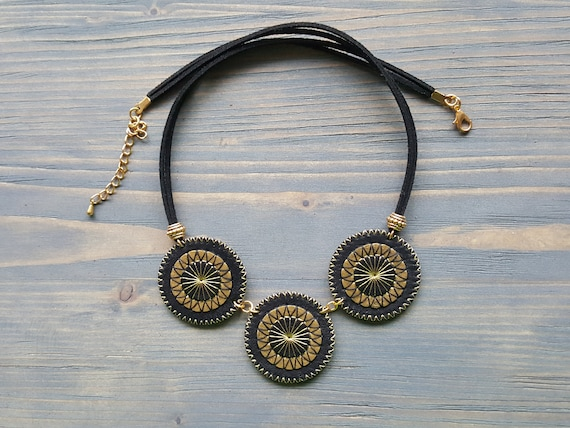 Leather Bohemian Necklace. Boho Chic Necklace. Bohemian Leather Jewelry. Embroidered Mandala Necklace. Black and Gold Leather Necklace.
