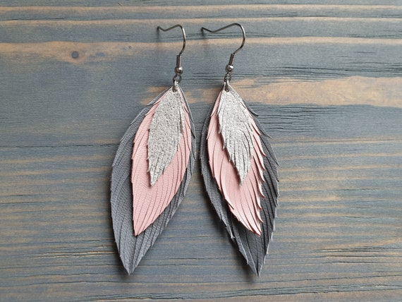 Layered Leather Earrings, Grey Pink Silver Earrings, Leather Feather Earrings, Boho Earrings, Lightweight Earrings, Statement Earrings