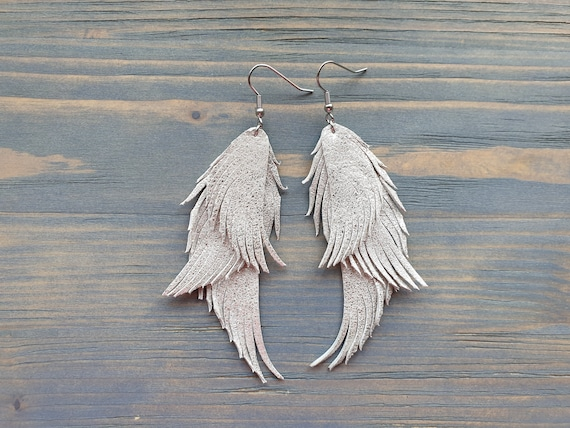 Silver feather earrings, Leather earrings, Leather feather earrings, Silver boho earrings, Statement earrings, Long earrings, boho jewelry
