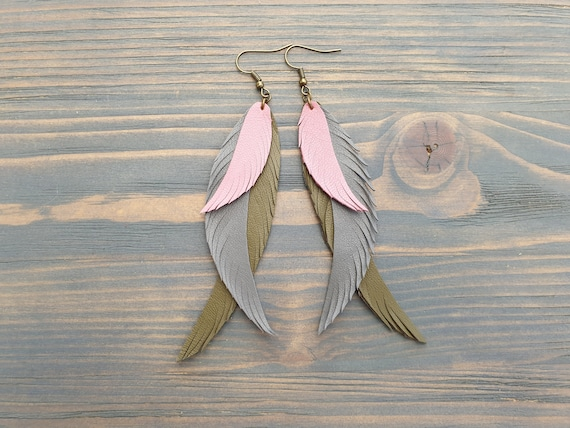 Long Earrings, Leather Earrings, Triple Feather Earrings, Boho Earrings, Layered Earrings, Boho Jewelry, Bohemian Earrings, Dangle Earrings