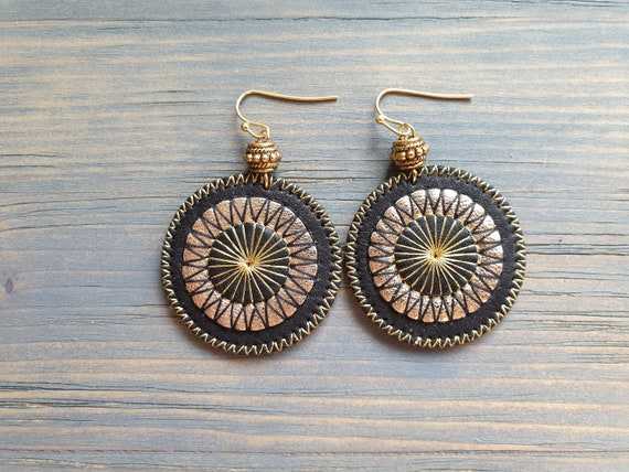Leather Earrings, Embroidered Earrings, Circle Earrings, Boho Earrings, Statement Earrings, Bohemian Earrings, Boho Jewelry, Black and Gold
