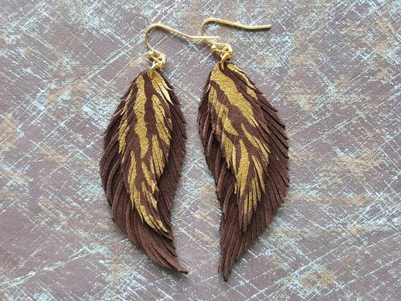 Leather Earrings, Brown Gold Earrings, Leather Feather Earrings, Tiger Earrings, Bohemian Earrings, Boho Jewelry, Light weight earrings.