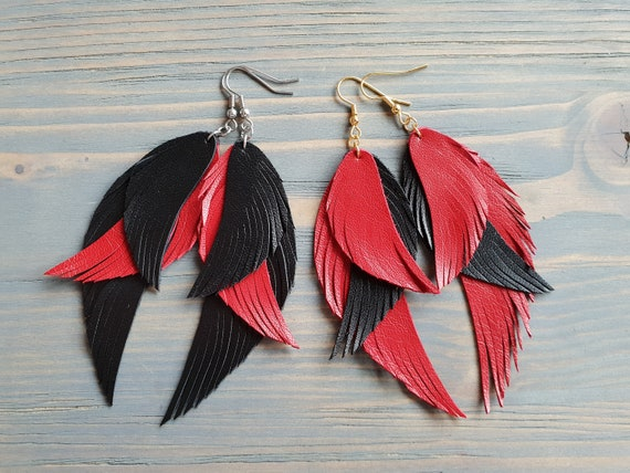 Layered Leather Earrings, Leather Feather Earrings, Leather Earrings, Black and Red Earrings, Feathers, Statement Earrings