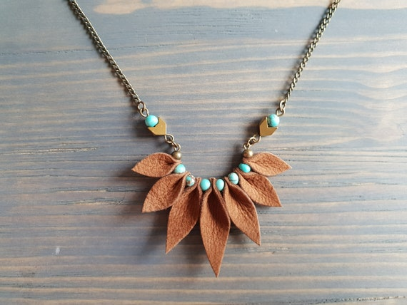 Bronze Turquoise Necklace, Boho Necklace, Boho Jewelry, Turquoise Jewelry, Bohemian Jewelry, Fashion Jewelry, Bohemian Statement Necklace.