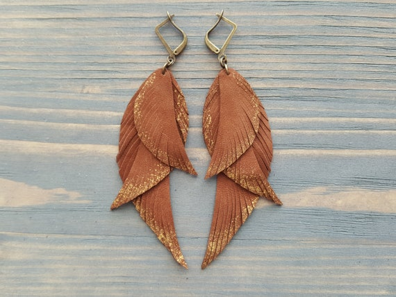 Triple Feather Earrings, Leather Feather Earrings, Bohemian Earrings, Boho Earring, Italian Leather Earrings, Brown Leather Earrings