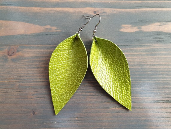 Green Leather Leaf Earrings, Large Leather Earrings, Green Earrings, Bohemian Earrings, Statement Earrings, Trendy Earrings