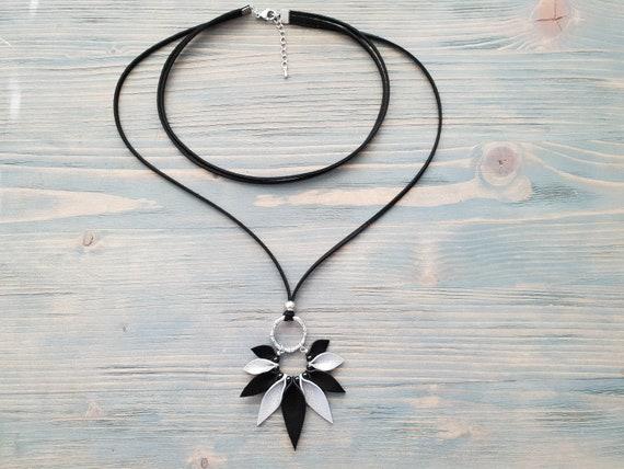 Layered Leather Necklace, Choker Necklace, Pendant Necklace, Boho Necklace, Boho Jewelry, Black and Silver Necklace, Boho Choker