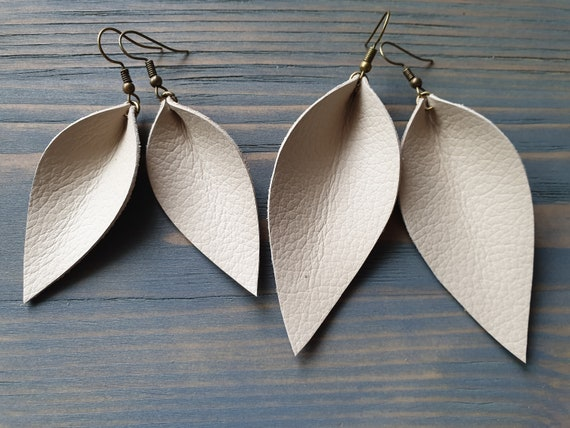 Cream Leather Earrings, Western Earrings, Leather Leaf Earrings, Simple Earrings, Boho Earrings, Leather Jewelry, Gift For Her