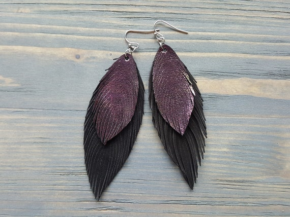 Chameleon Metallic Leather Earrings. Large Leather Feather Earrings. Black Suede Earrings. Statement Earrings. Bohemian Earrings.