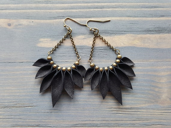 Black Leather Earrings, Boho Earrings, Bohemian Earrings, Statement Earrings, Long Dangle Earrings, Bronze Earrings, Statement Jewelry