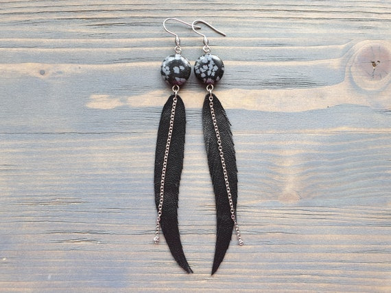 Long Feather Earrings, Leather Earrings, Leather Feather Earrings, Black Earrings, Boho Earrings, Boho Jewelry, Snowflake Obsidian Earrings