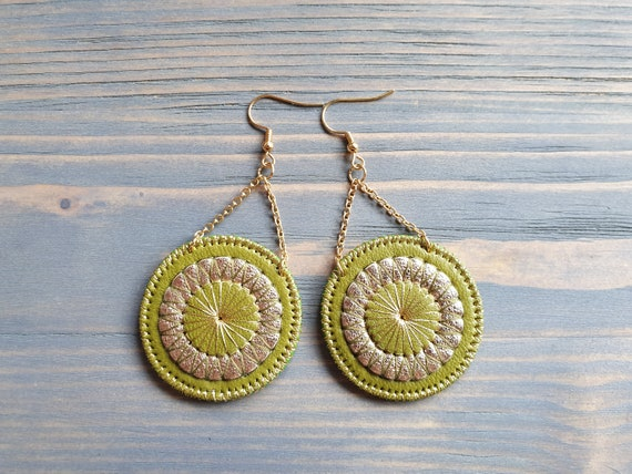 Green Leather Earrings, Statement Earrings, Bohemian Earrings, Boho Earrings, Circle Earrings, Boho Jewelry, Dangle Earrings, Disk Earrings