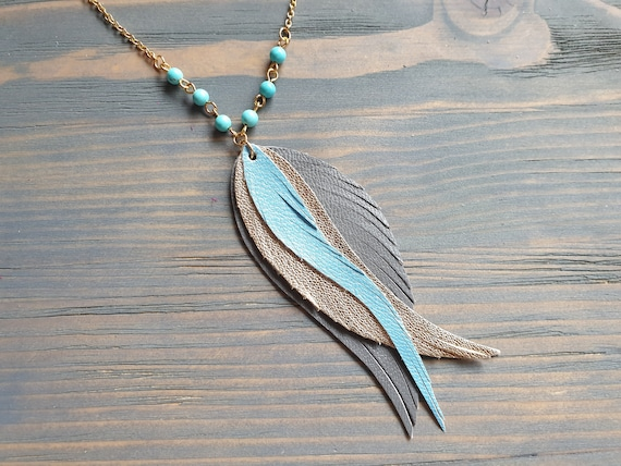 Leather Pendant Necklace, Leather Feather Necklace, Gold Chain Necklace, Feather Pendant Necklace
