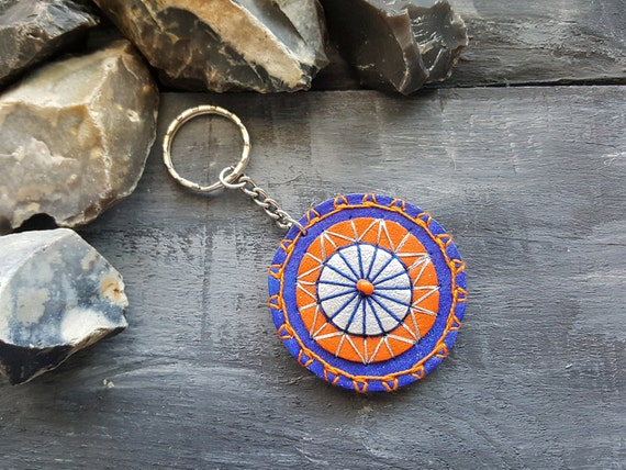 Mandala keychain. Leather keychain. Handmade boho keyring. Keyfob. Tribal keychain. Leather accessories. Boho keychain. Blue keychain.