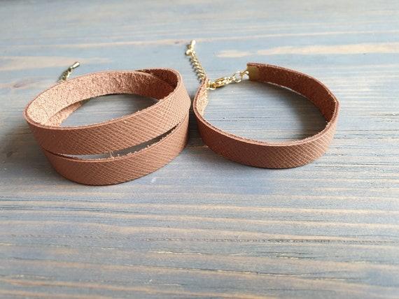Brown Leather Wrap Bracelet, Minimalist Bracelet, Leather Bracelet, Leather Cuff Bracelet, Leather Bangle Bracelet, Simple Leather Bracelet