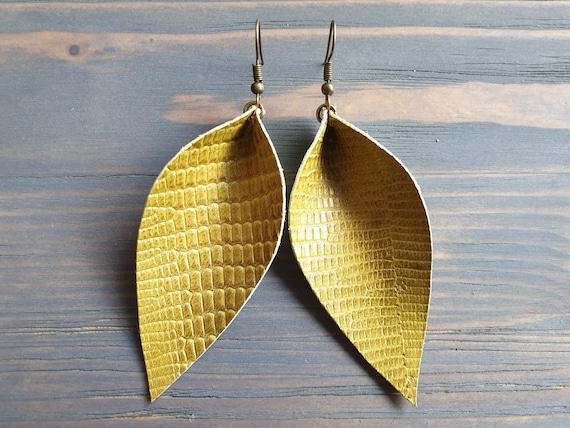 Mustard Leather Earrings, Snakeskin Earrings, Leather Leaf Earrings, Western Earrings, Large Leather Leaf Earrings, Snakeskin Print Earrings