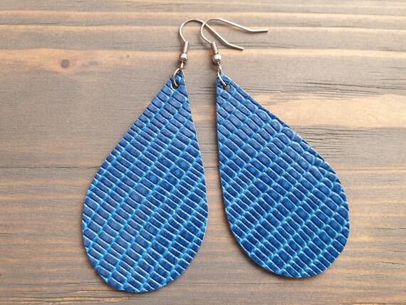Royal Blue Leather Earrings, Casual Earrings, Leather Teardrop Earrings, Boho Earrings, Genuine Leather, Lightweight Earrings